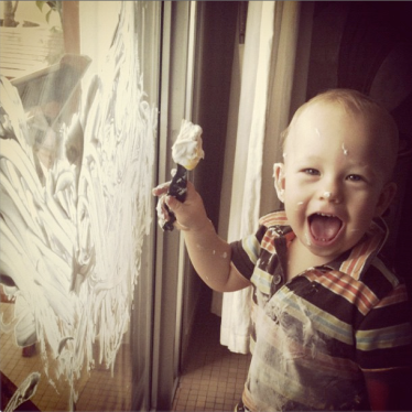 Shaving cream painting on the window. Thanks, Pinterest!