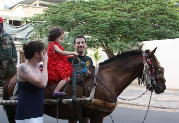 He made it just in time to see his wife and daughter coming home on a horse cart. (Which means that the next time we send out a cryptic invitation, he'll either run and hide or be totally on board.)