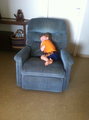 Before photo of the recliner we bought second-hand from the Conkle family three years ago.