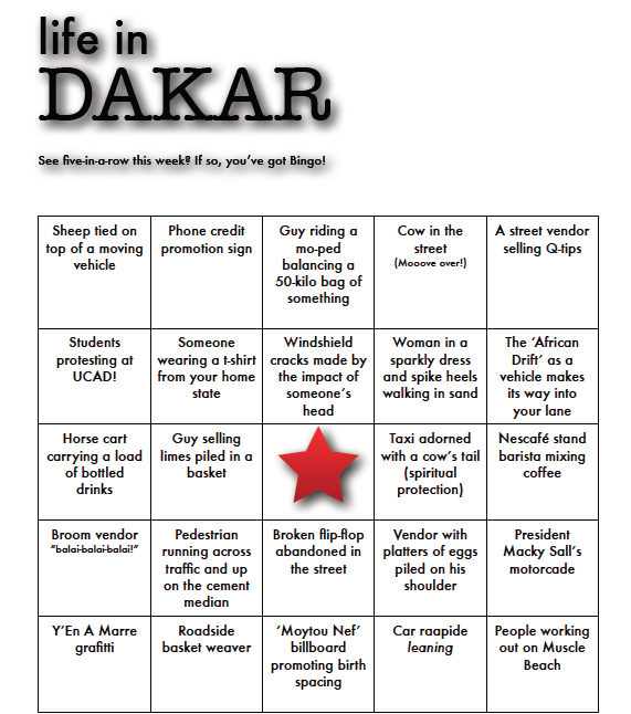 Download printable Dakar Bingo here!