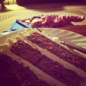 Let me eat cake! Bedtime treat / extra serving of veggies since it was carrot cake after all.