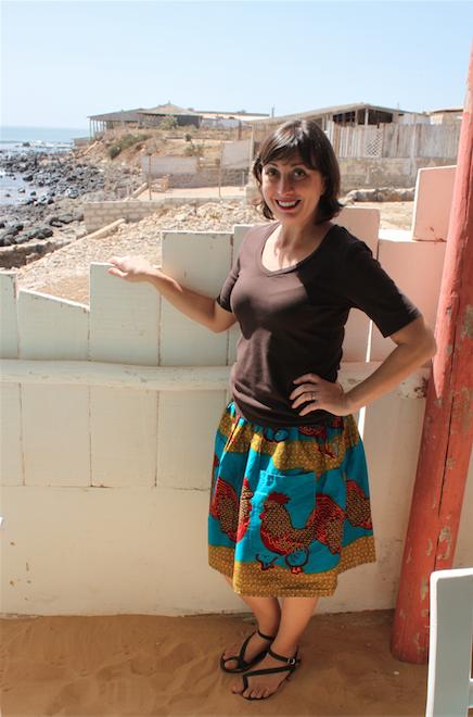 Danielle in her pocket skirt by Seydou. Gotta' love a good chicken print!